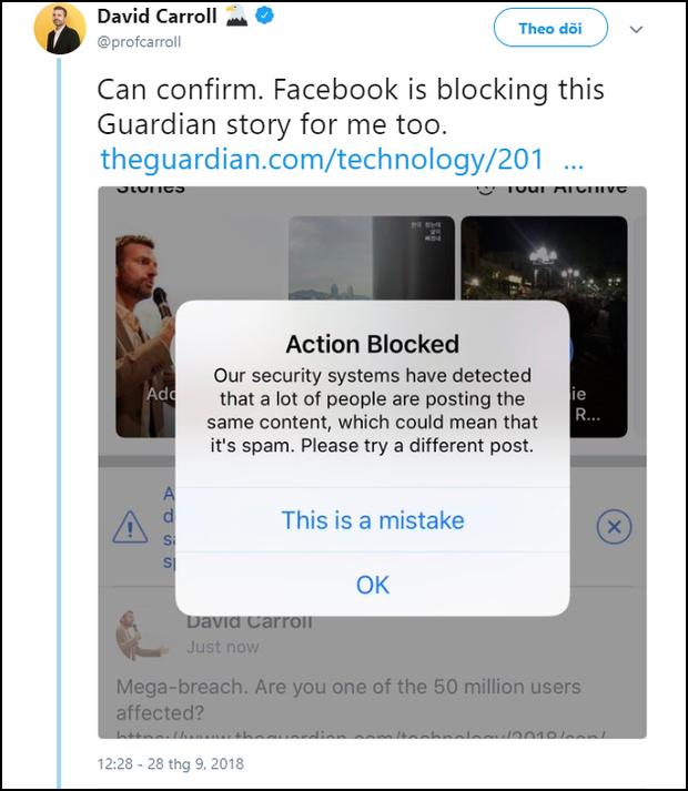 Facebook bị nghi cố tình chơi bẩn bằng cách block dân mạng, không cho share tin mình bị hack - Ảnh 3.