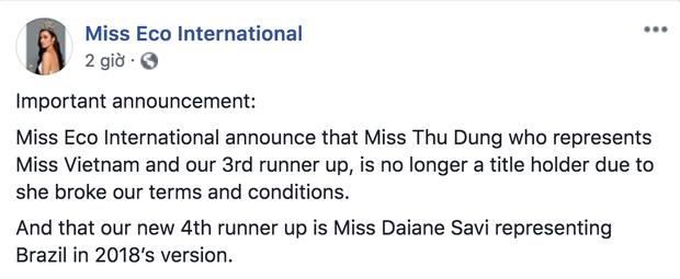 Thư Dung bị thu hồi danh hiệu Á hậu 2 Miss Eco International 2018 - Ảnh 1.