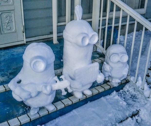 Tuyết rơi dày kỷ lục ở Nhật Bản, người dân đã vô tình tạc nên những bức tượng đẹp tới không ngờ - Ảnh 3.
