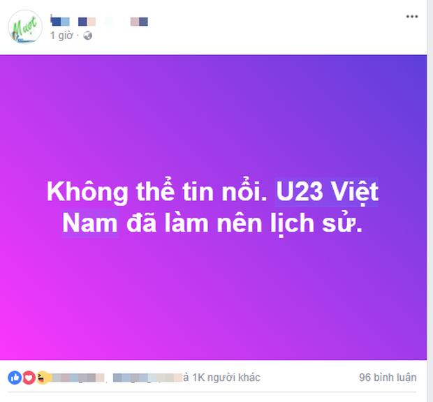 Dân mạng không ngớt lời chúc mừng chiến thắng lịch sử của U23 Việt Nam - Ảnh 1.