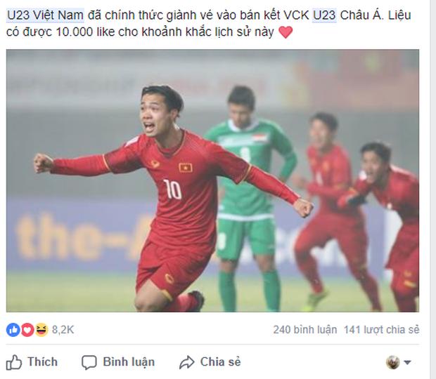 Dân mạng không ngớt lời chúc mừng chiến thắng lịch sử của U23 Việt Nam - Ảnh 4.