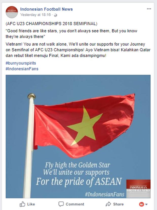 Người hâm mộ Indonesia hết lòng ủng hộ đội U23 Việt Nam: Việt Nam, các bạn không bao giờ đơn độc - Ảnh 1.