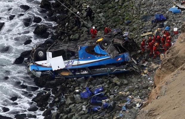 Ảnh: Gian nan cứu hộ chiếc xe bus lao xuống vực sâu cạnh biển ở Peru - Ảnh 1.