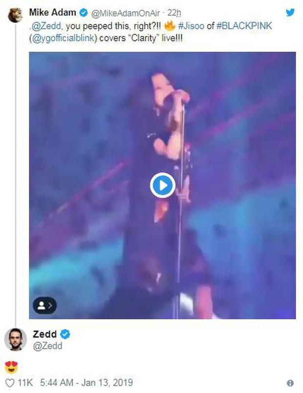 """Đây là phản ứng của Zedd khi thưởng thức màn cover """"Clarity"""" của Jisoo (Black Pink)! - Ảnh 2."""