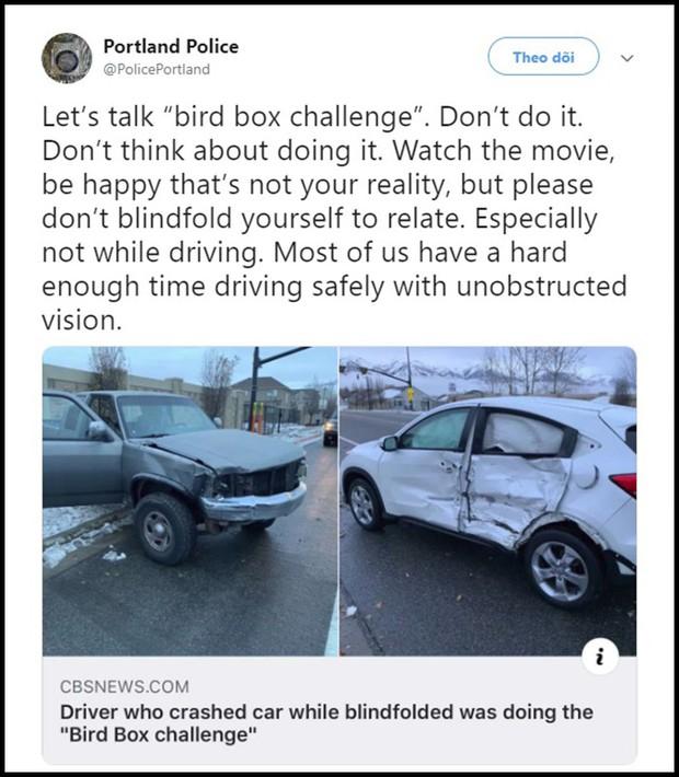 Sở cảnh sát Mỹ ra khuyến cáo người dân không được bịt mắt như trong Bird Box sau tai nạn giao thông - Ảnh 2.