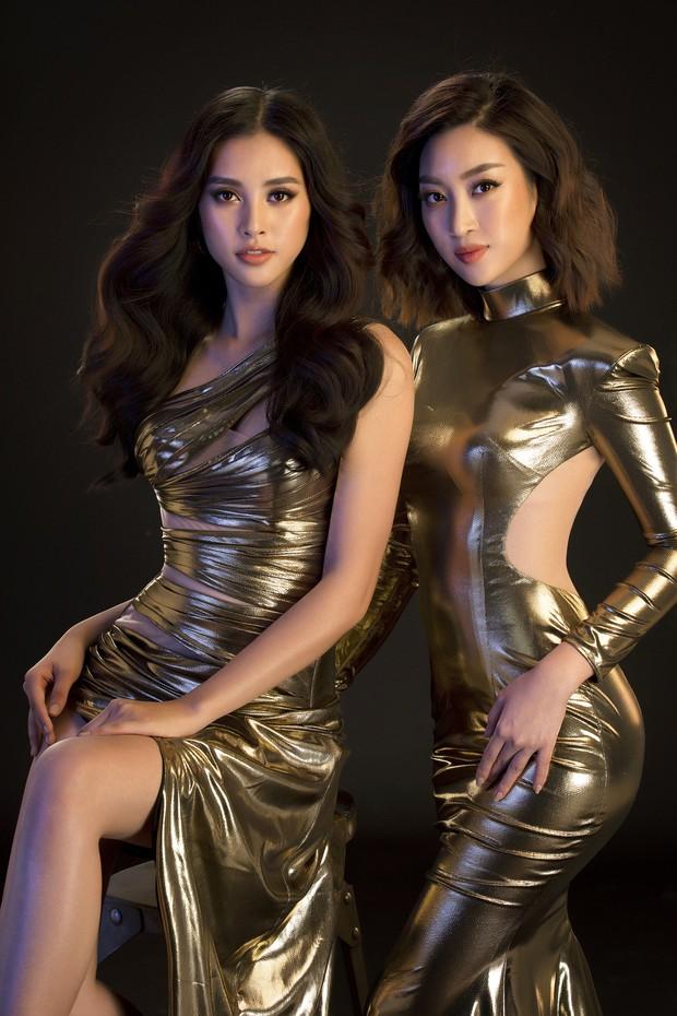 Mới đăng quang, Tiểu Vy đã diện váy xẻ siêu cao, đọ sắc với Đỗ Mỹ Linh mặc đầm cut-out xéo sắc - Ảnh 2.