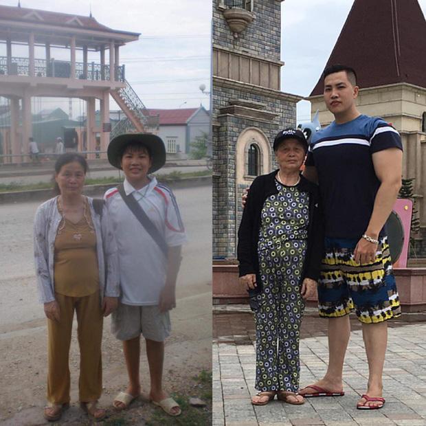 Tham gia Thử thách 10 năm, chàng trai gây sốt khi khoe ảnh từ hồi còn bé xíu bỗng trở thành sumo bên bà thân yêu - Ảnh 1.