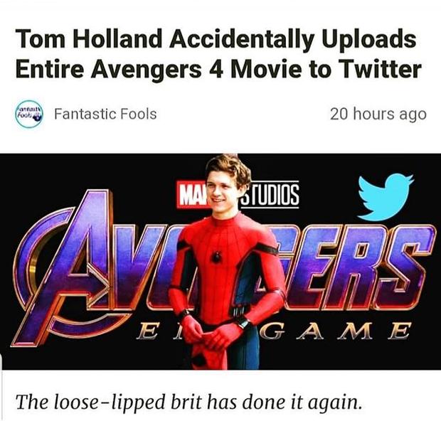 Quen thói tiết lộ nội dung phim, Spider-man Tom Holland lỡ tay đăng cả phần 4 Avengers: End Game lên Twitter mà không biết? - Ảnh 2.