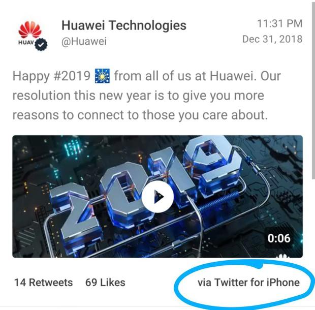 Sức hút lạ kỳ của Apple: Đối thủ Huawei cũng xiêu lòng, dùng luôn iPhone viết status mừng năm mới - Ảnh 1.