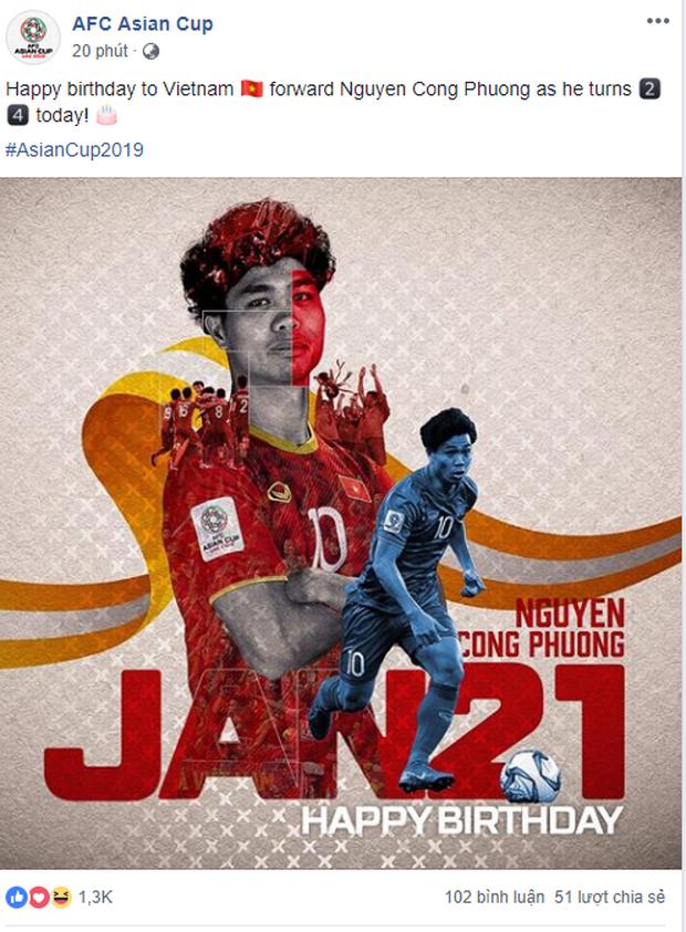 Liên đoàn bóng đá châu Á đăng status chúc mừng sinh nhật Công Phượng - Ảnh 1.