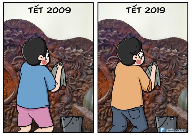10 năm trôi qua, mọi thứ thay đổi chỉ có thử thách lau đồ gỗ trước Tết là vẫn ám ảnh như xưa! - Ảnh 1.