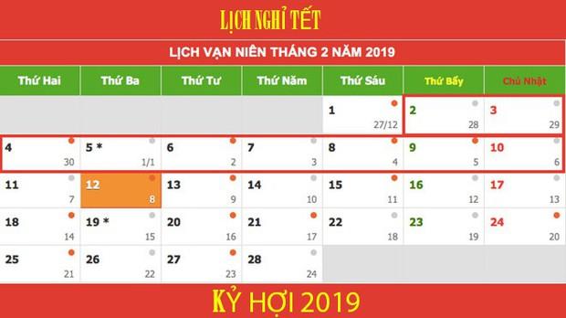 Lịch nghỉ Tết Nguyên đán Kỷ Hợi và các ngày lễ trong năm 2019 - Ảnh 2.