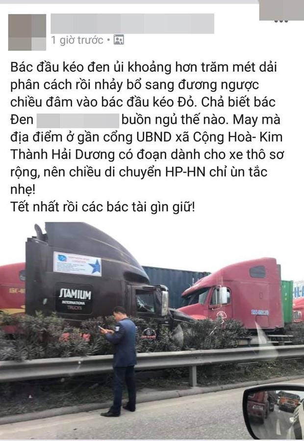 Clip: 2 xe container tông trực diện sau khi 1 chiếc cuốn phăng dải phân cách, nam tài xế mở cửa lao ra ngoài thoát thân - Ảnh 3.