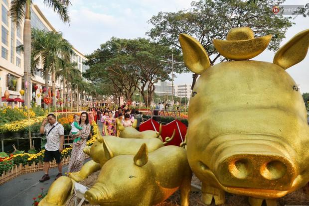 Ngắm đàn lợn với biểu cảm buồn cả thế giới ngộ nghĩnh và hài hước trên đường hoa xuân quận 7 - Ảnh 1.