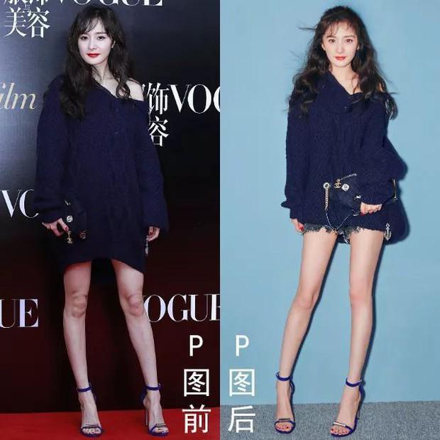Triệu Vy, Dương Mịch, Angela Baby... bị bóc mẽ đôi chân thiếu nuột nà trong loạt ảnh trước và sau photoshop - Ảnh 4.