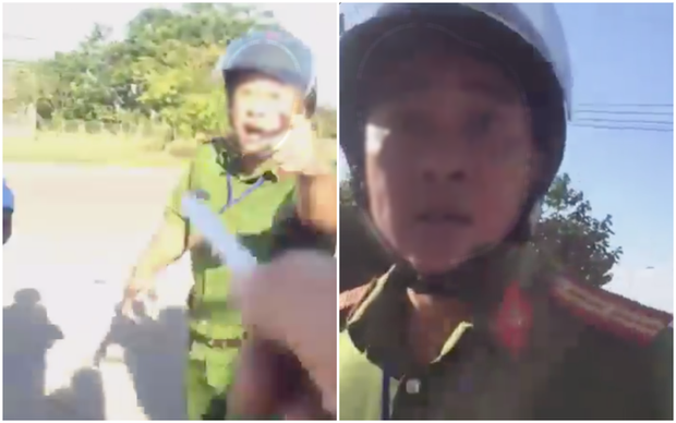 Bình Phước: Xôn xao clip người đàn ông mặc đồng phục công an văng tục và đòi hành hung tài xế xe đầu kéo - Ảnh 1.