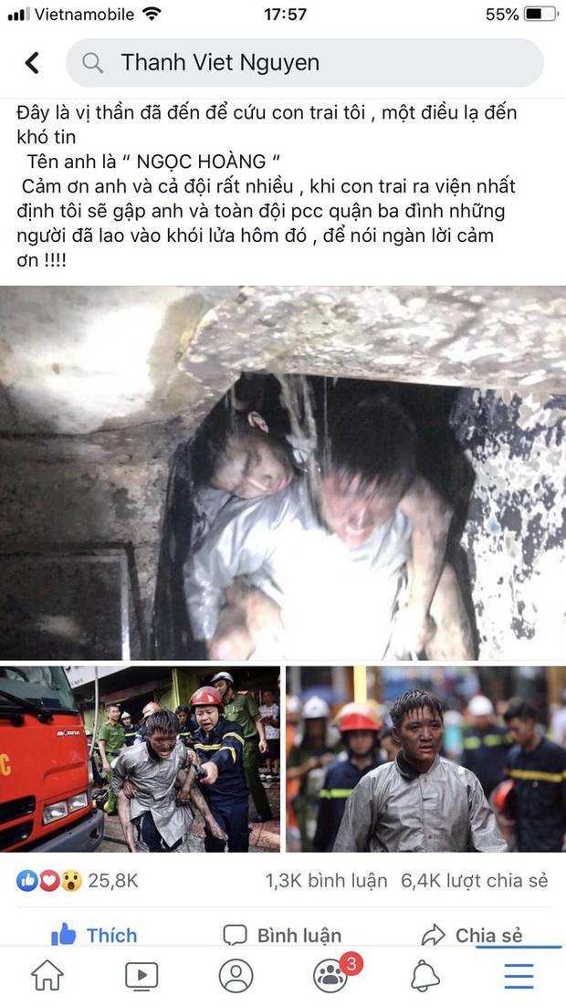 Lời cảm ơn của ông bố gửi chiến sỹ cảnh sát PCCC dũng cảm lao vào đám cháy cứu con trai mình - Ảnh 2.
