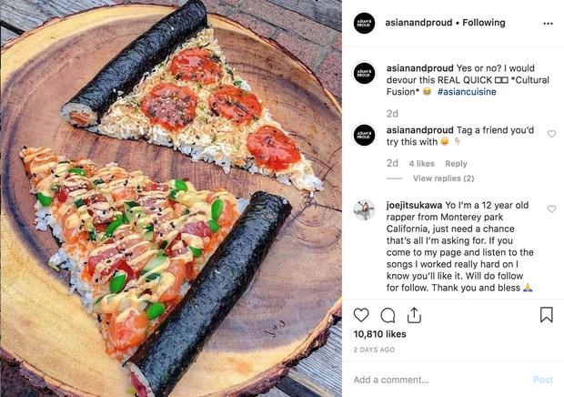 Sự xuất hiện của món mới khiến dân mạng ngỡ ngàng chẳng biết gọi tên thế nào cho đúng: pizza, kimbap hay cơm cá hồi? - Ảnh 1.