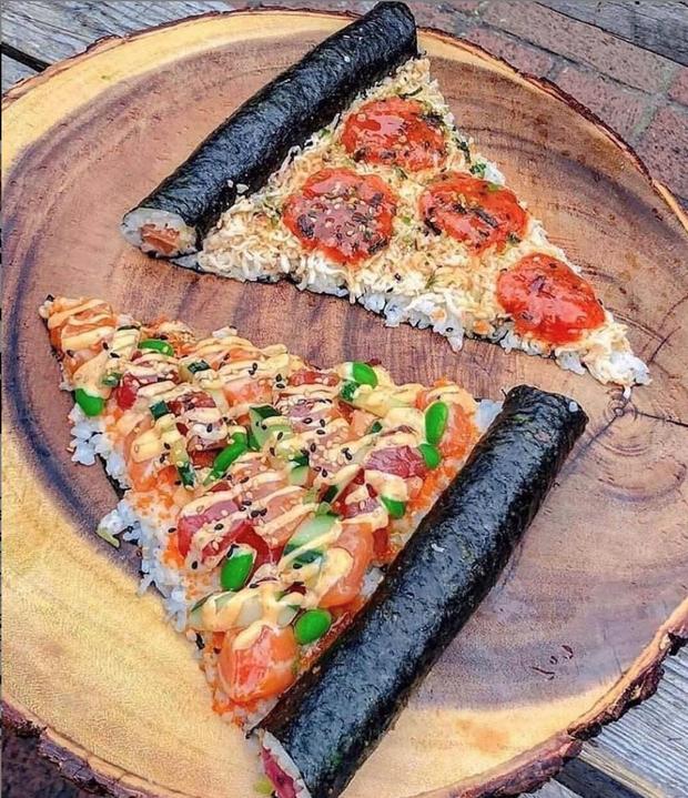Sự xuất hiện của món mới khiến dân mạng ngỡ ngàng chẳng biết gọi tên thế nào cho đúng: pizza, kimbap hay cơm cá hồi? - Ảnh 2.