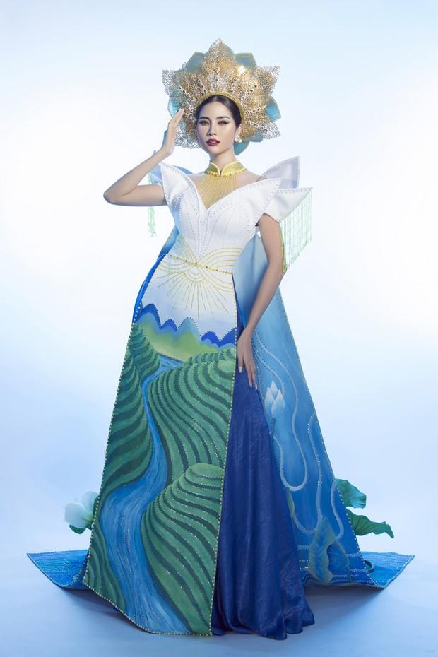 Ấn tượng với quốc phục mang cả hồ sen, đính kết 5000 viên pha lê mỹ nhân Việt chọn mang đến Hoa hậu Trái đất - Ảnh 6.