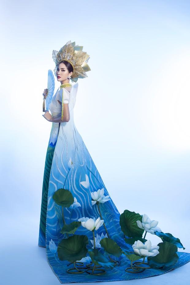 Ấn tượng với quốc phục mang cả hồ sen, đính kết 5000 viên pha lê mỹ nhân Việt chọn mang đến Hoa hậu Trái đất - Ảnh 5.