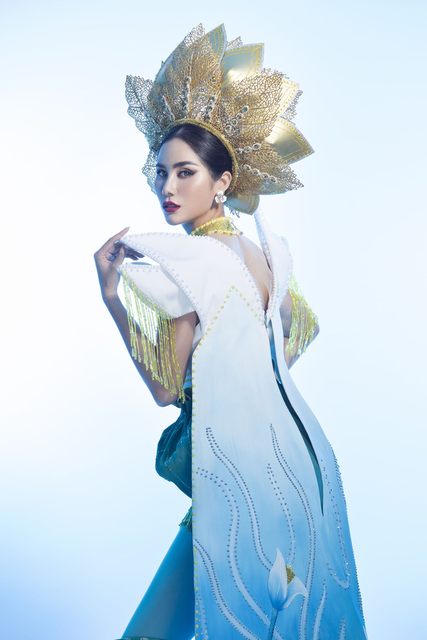 Ấn tượng với quốc phục mang cả hồ sen, đính kết 5000 viên pha lê mỹ nhân Việt chọn mang đến Hoa hậu Trái đất - Ảnh 2.