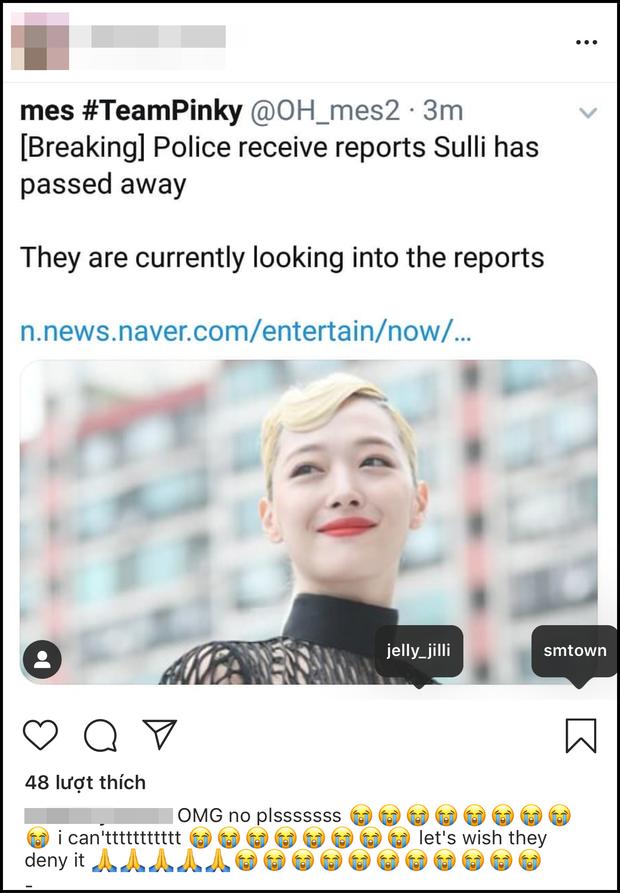 Netizen thế giới bàng hoàng trước tin Sulli đột ngột qua đời, đã tìm thấy thi thể vào chiều nay: Sốc, không thể tin được! - Ảnh 2.
