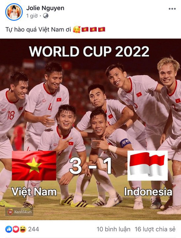 Vợ chồng Thu Trang - Tiến Luật, Kiều Minh Tuấn cùng sao Vbiz hãnh diện khi đội tuyển Việt Nam thắng Indo ở vòng loại World Cup - Ảnh 5.