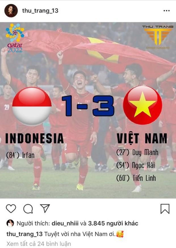 Vợ chồng Thu Trang - Tiến Luật, Kiều Minh Tuấn cùng sao Vbiz hãnh diện khi đội tuyển Việt Nam thắng Indo ở vòng loại World Cup - Ảnh 4.