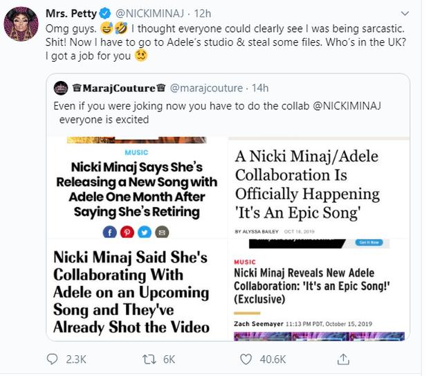 Nicki Minaj liên tiếp mang khán giả và truyền thông làm trò đùa: hết vờ vĩnh giải nghệ lại nói dối hợp tác với Adele! - Ảnh 2.