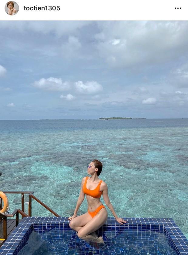 Trái ngược ảnh bị dìm, Tóc Tiên tung loạt khoảnh khắc khoe body cực gợi cảm trong kỳ nghỉ ở Maldives - Ảnh 1.