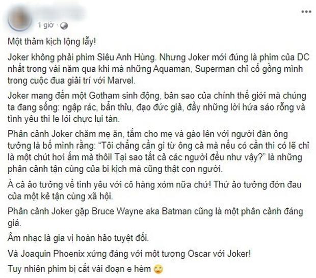 MXH Việt phát cuồng sau suất chiếu đầu tiên của Joker: Tuyệt phẩm từ hình ảnh đến âm thanh, Joaquin là gã hề xuất sắc nhất lịch sử! - Ảnh 6.