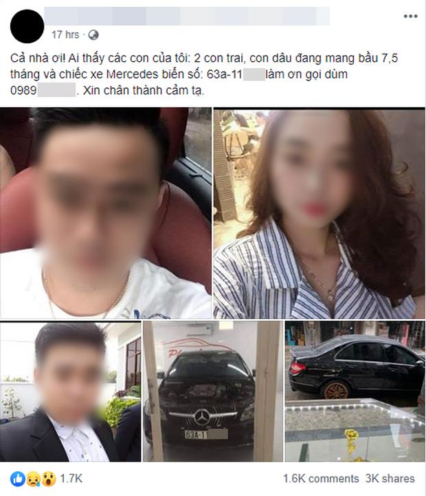 Vụ 3 thi thể trong xe Mercedes nằm dưới kênh: Người mẹ từng đăng tin tìm kiếm 2 con trai và con dâu đang mang bầu 7,5 tháng - Ảnh 2.