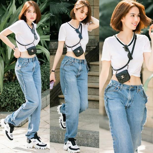 Khoe quần jeans trước sau như một, tưởng không ai dám mặc hóa ra Ngọc Trinh lại đụng hàng với Kendall Jenner - Ảnh 1.