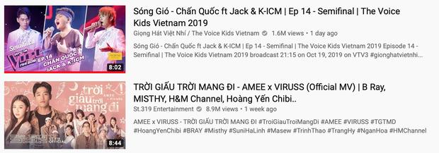 Đổi lời và phối mới hit Sóng Gió, Jack & K-ICM lên thẳng Top 1 Trending, lập kỷ lục vô tiền khoáng hậu cho The Voice Kid - Ảnh 1.