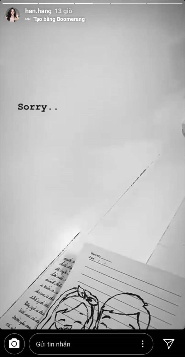 Hàn Hằng bất ngờ đăng story xin lỗi ai đó sau tin đồn theo Huyme về nhà riêng, cắm sừng bạn trai lộ liễu - Ảnh 1.