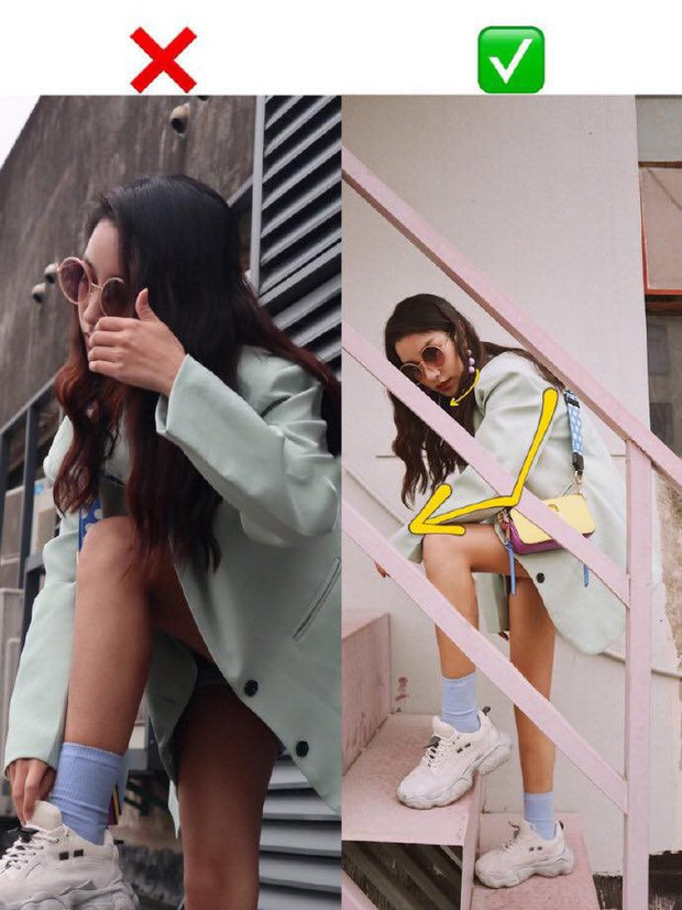 """Hoá ra gái xinh bên Hàn chụp ảnh đẹp là nhờ có loạt bí kíp tạo dáng """"hack nhẹ"""" như này, chân dài mặt thon kiểu gì cũng chơi - Ảnh 3."""