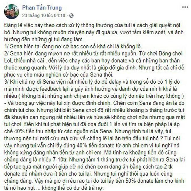 LMHT: Biến căng SBTC - Thầy Ba đăng đàn tố Hiệu trưởng Tú Sena đang quỵt nợ hàng trăm triệu đồng - Ảnh 1.
