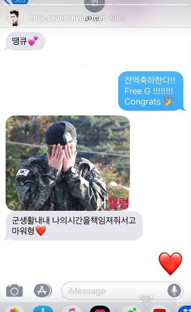 T.O.P (BIGBANG) có động thái cực mặn chào đón G-Dragon trở về, hé lộ tin nhắn ngại ngùng của ông hoàng Kpop - Ảnh 1.