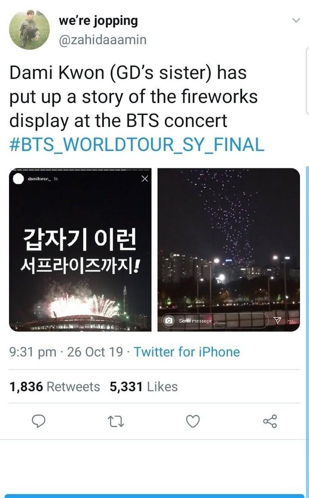 Fan BTS tổng tấn công, bắt nạt chị gái G-Dragon do đăng ảnh... pháo hoa, ai ngờ bị ném đá ngược vì thiếu văn minh - Ảnh 2.