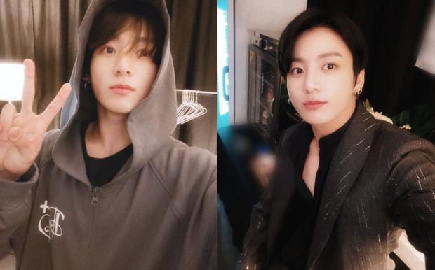 Em út vàng BTS gây choáng với ảnh trước và sau makeup, liệu có xứng gương mặt đẹp trai thứ 2 thế giới? - Ảnh 1.