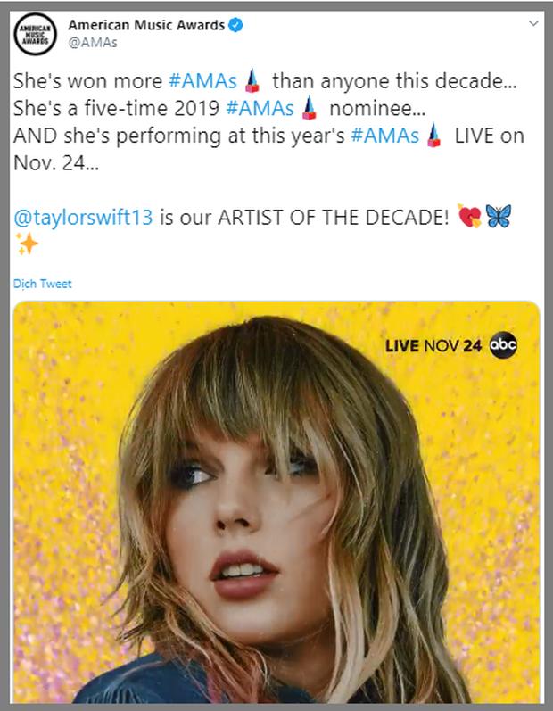 """Nóng: Taylor Swift chính thức nhận giải """"Nghệ sĩ của thập kỷ"""" tại lễ trao giải AMAs 2019, san bằng kỷ lục khủng với Michael Jackson - Ảnh 1."""