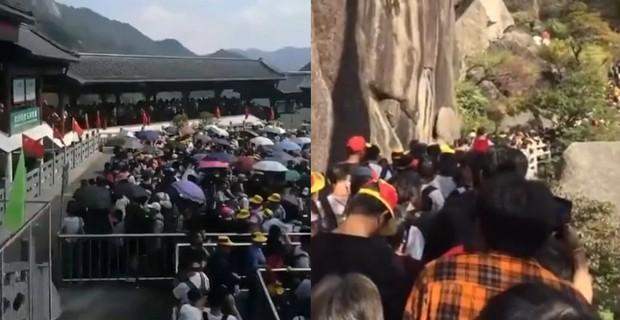 Cảnh tượng biển người mênh mông trong kỳ nghỉ lễ Quốc Khánh Trung Quốc: Người dân đứng chật cứng cả cây cầu chỉ để check-in - Ảnh 2.