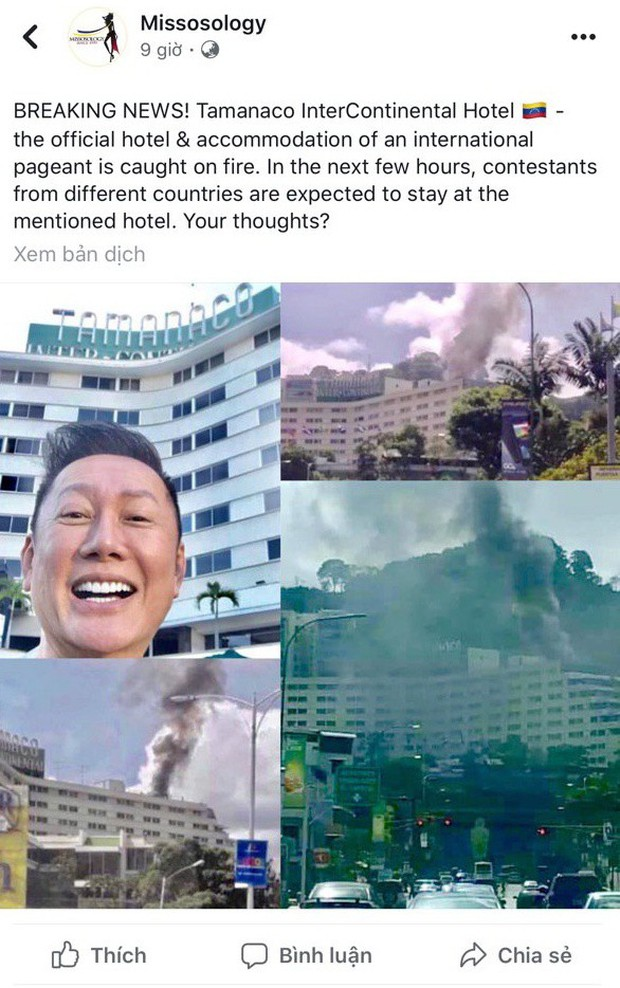 Khách sạn tổ chức Miss Grand International tại Venezuela bốc cháy dữ dội - Ảnh 1.