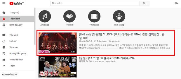 Không phải quán quân nhưng sân khấu của (G)I-DLE lại giật trọn spotlight hậu Queendom: đạt 1 triệu view sau nửa ngày, thống trị trending YouTube Hàn - Ảnh 2.