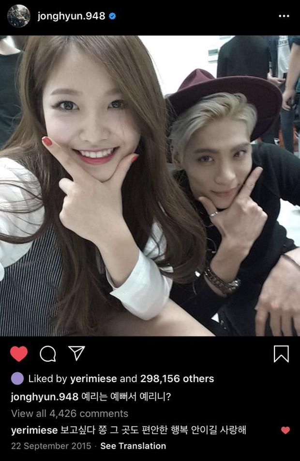 Yeri bất ngờ bình luận dưới ảnh của cố nghệ sĩ Jonghyun 4 năm trước, netizen vừa xúc động vừa hoang mang tột độ - Ảnh 1.