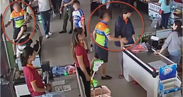 Phẫn nộ clip bố xui con mua hàng không trả tiền, còn hung hăng ném xúc xích vào mặt và tát nhân viên ở Thái Nguyên - Ảnh 3.