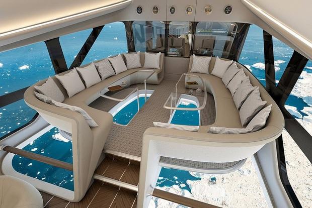 """Chiếc máy bay """"lừa tình"""" nhất thế giới: Bên ngoài như khinh khí cầu, bên trong đẹp hệt khách sạn 5 sao đưa khách du ngoạn Bắc Cực - Ảnh 5."""