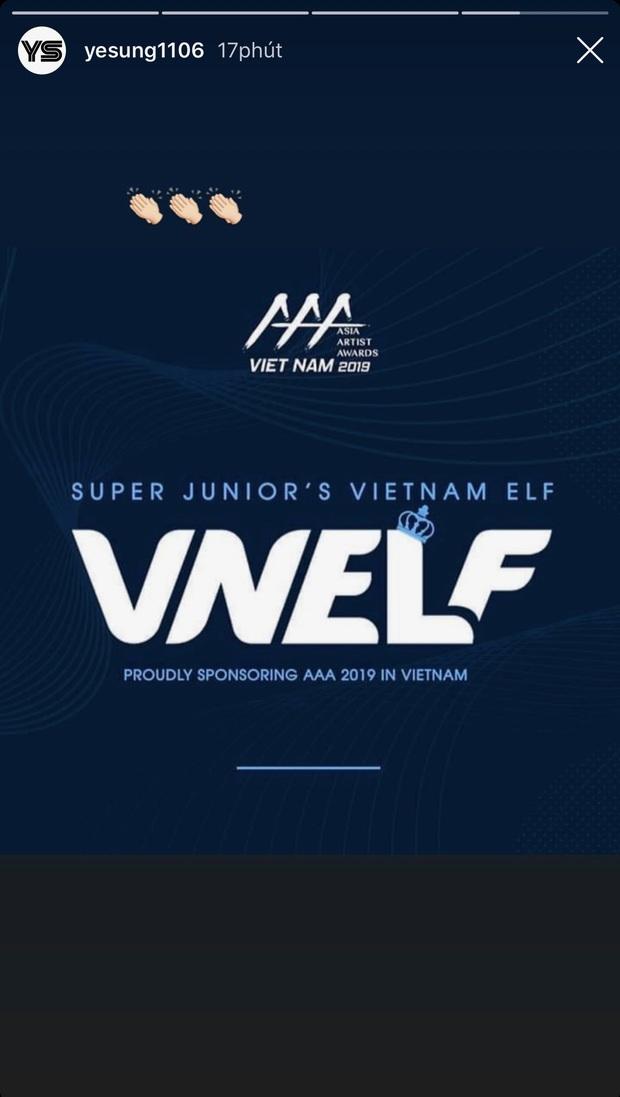Vừa nghe tin VNELF là đơn vị tài trợ AAA 2019, Yesung (Super Junior) liền đăng bài đầy tự hào khoe fandom Việt trên Instagram - Ảnh 3.