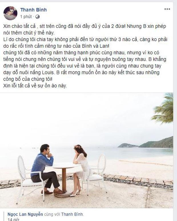 Thanh Bình chính thức lên tiếng về tin đồn người thứ 3 và vụ ly hôn với Ngọc Lan - Ảnh 1.
